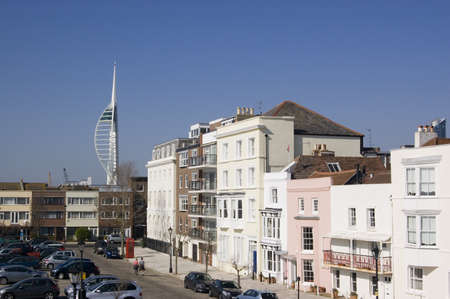 spinnaker: View of the old part of Portsmouth city, Hampshire with the modern Spinnaker Tower in the distance.