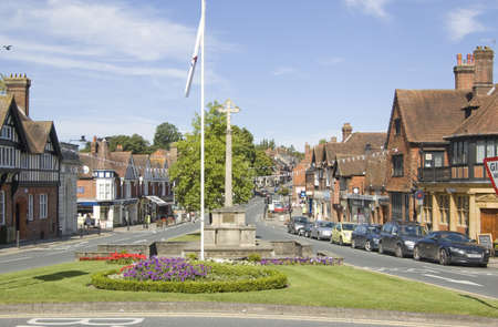 HASLEMERE, SURREY, ENGLAND - SEPTEMER 8: Shoppers in the centre of historic Haslemere on September 8 2012.  The market town is suffering in the economic downturn.