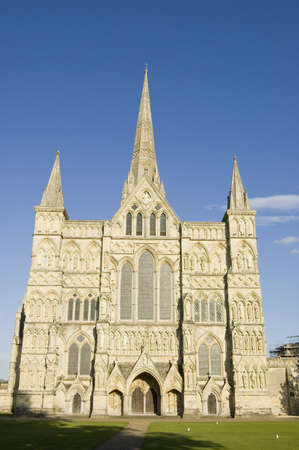 The magnificent West front of Salisbury Cathedral, Wiltshire  The Cathedral was completed in the 14th century  photo