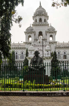 andhra: Building housing the Andhra Pradesh Legislature including the state s Legislative Assembly and Legislative Council   A public monument to Mahatma Gandhi is on the lawn   Hyderabad, India