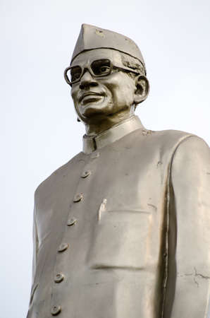 andhra: Public monument statue of Dr Neelam Sanjeeva reddy  1913 - 1996  former President of India   Statue beside a busy road in Hyderabad, Andhra Pradesh, India