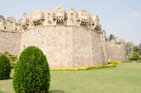 crenelation: View of the impressive exterior walls surrounding the medieval Golcanda Fort in Hyderabad, India