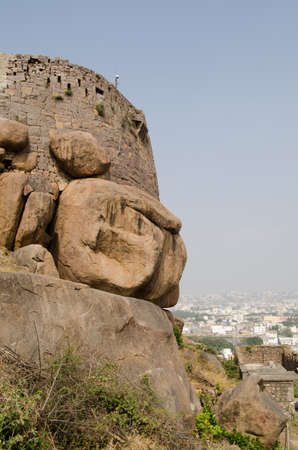 vertica: Part of the medieval Golcanda Fort built on rocks overlooking Hyderabad, India  Editorial