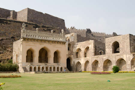 Ruins and gardens of the medieval Mogul Empire Golkonda Fort in Hyderabad, India