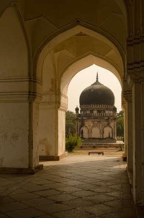 mughal empire: View along the outer wall of Hayath Bakshi Begum Tomb, part of the Mughal Empire Qutb Shahi Tombs in Hyderabad, India