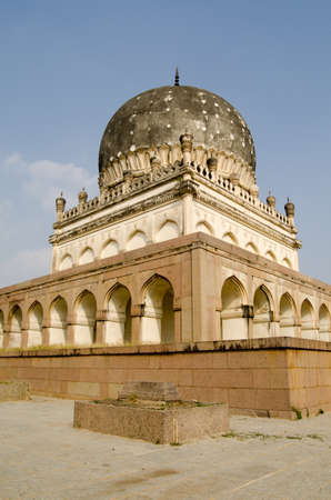 mughal empire: View of the imposing tomb of Hayath Bakshi Begum, one of the famous Seven Tombs, or Qutb Shahi Tombs, built during the Mughal Empire in Golkonda near Hyderabad, India  Stock Photo
