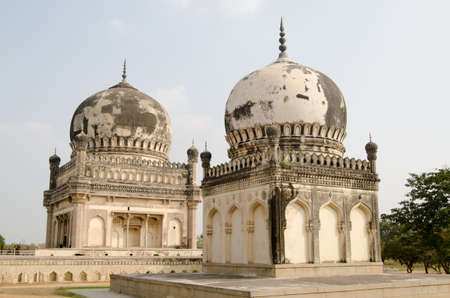 golconda: Twin tombs of Premamati and Taramati, favourite courtesans of Sultan Abdullah Shah   Part of the historic Qutb Shahi tomb complex in Golconda, Hyderabad, India and built during the Mughal Empire  Stock Photo