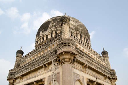 Detail of a dome at the Qutb Shahi Tombs complex in Golconda, Hyderabad, India   Built during the Mughal Empire, the tombs hold the mausoleums of the ruling Sultans of the area