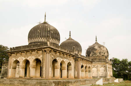 Some of the historic Qutub Shahi Tombs built during the Mughal Empire in Golconda, Hyderabad, Andhra Pradesh
