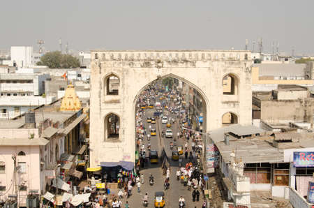 andhra: HYDERABAD, ANDHRA PRADESH, INDIA - JANUARY 10  view from Charminar tower of the busy bazaar of Hyderabad   The city is a centre of the pearl trade