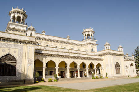 View of the exterior of one of the four palaces at Chowmahalla, Hyderabad, India   Built in the 18th and 19th centuries, the grand buildings were home to the ruling Nizams   Now open to the public