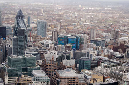 View from a tall building of the City of London including the blue St Botolph House