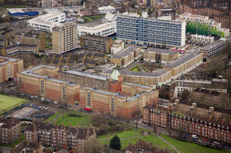 south london: View from a tall building of flats and public housing in Southwark, South London
