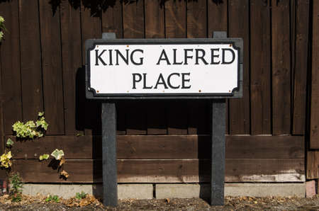 winchester: Road sign for one of the many streets named after the medieval King Alfred the Great in Winchester, England