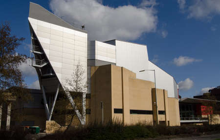 funded: View of the exterior of Basingstoke s Anvil Concert Hall, Hampshire   A publicly funded venue for music and other performances   viewed from pavement  Editorial