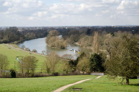 View of the River Thames and Glover s Island from Richmond Hill, London The view is so famous it is protected by an Act of Parliament