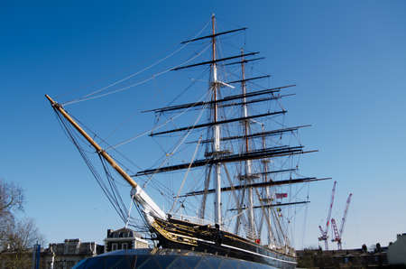 View of the recently restored Cutty Sark, at one time the fastest sailing ship in the world, now a museum   The former tea clipper is preserved as a museum in Greenwich, South East London  Editorial