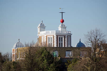 View of part of the historic Royal Observatory at Greenwich, London   This Stuart building crosses the Greenwich Meridian