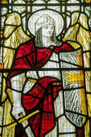 Victorian stained glass window of archangel Michael   Window on public display over 100 years