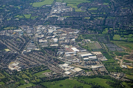 Aerial view of the Purley Way trunk road and large shops and light industrial area in South Croydon, London