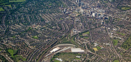 south london: Aerial view of the railway and town centre of East Croydon in South London