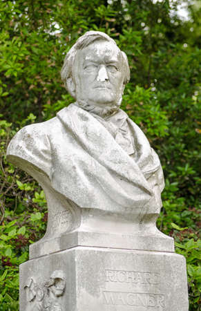 defaced: Sculpture of the composer Richard Wagner  1813 - 1883  on public display in the Giardini, Venice   The statue by Fritz Schaper  1841-1919 has recently been defaced with the nose knocked off