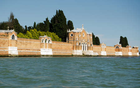The island of San Michele in the lagoon, Venice   The island is the city s cemetery with graves of many famous people