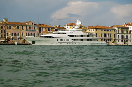 super yacht: VENICE, ITALY - JUNE 6  The millionaire s super yacht RoMa moored in Venice on June 6 2013   The yacht and crew are hired by many wealthy people to travel the Mediterranean sea