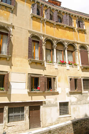 historian: One time home of the Venetian historian Marino Sanuto the Younger  1466-1536 , also known as Marin Sanudo in Venice, Italy    Historic house, hundreds of years old, viewed from public footpath