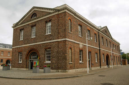 portsmouth: PORTSMOUTH, HAMPSHIRE, ENGLAND - August 2   View of the former Georgian Naval building now home to the Aspex contemporary art gallery in Portsmouth on August 2 2013   The gallery encourages artists in the area