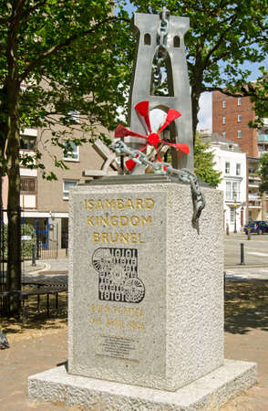 innovator: Public monument on display in Portsmouth, Hampshire to the great Victorian engineer Isambard Kingdom Brunel  1806 - 1859  who was born in the Hampshire city    Monument on public display and viewed from pavement