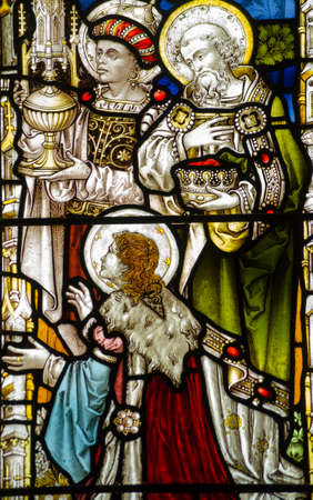 myrrh: Historic, Victorian stained glass window showing the three Kings, or Wise Men, presenting their gifts of gold, frankincense and myrrh to the baby Jesus  Historic window on public display over 100 years