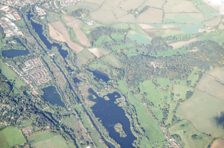 enfield: View from a plane of the Lee Valley water reservoirs in Enfield, North London