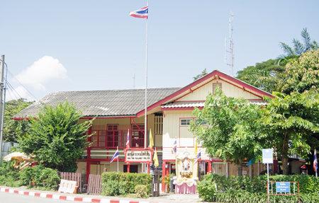HUA HIN, THAILAND - NOVEMBER 2 2013  Headquarters of Thailand s Railway Police in the seaside town of Hua Hin
