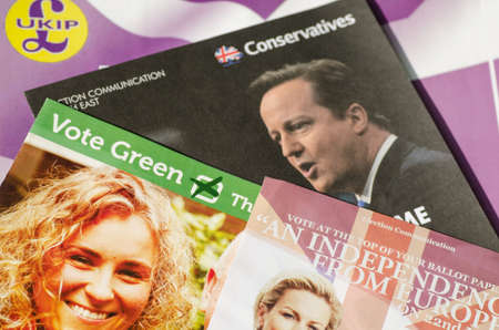 conservatives: BASINGSTOKE, ENGLAND - MAY 14, 2014  Assorted campaign literature from parties competing in the European Parliamentary Elections in the South East region of the UK