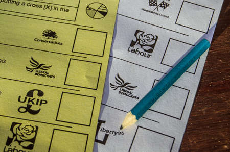 BASINGSTOKE, ENGLAND - MAY 15, 2014  Ballot papers for the local and European Parliamentary elections to be held on May 22nd 2014  Editorial