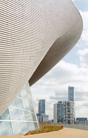 newham: Part of the elegant Aquatics Centre in the Olympic Park, Stratford, London   Designed by the architect Zaha Hadid and now a public swimming pool