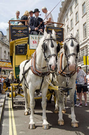 LONDON, ENGLAND - JUNE 22, 2014  A vintage horse-drawn bus, one of the first to offer public transport in London, on display in Regent Street to mark the bicentenary of London buses
