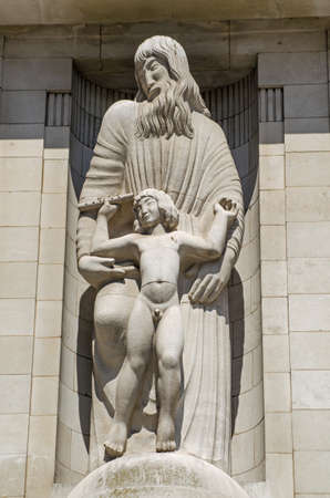 shakespearean: Statue of Prometheus and Ariel, characters from Shakespeare s Tempest, on the front of BBC Broadcasting House in Central London since 1933   Viewed from public pavement
