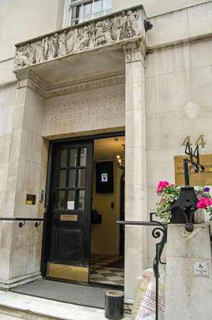 LONDON, UNITED KINGDOM - MAY 15, 2014   Entrance to the headquarters of the General Medical Council in central London   The organisation regulates and disciplines the country s doctors