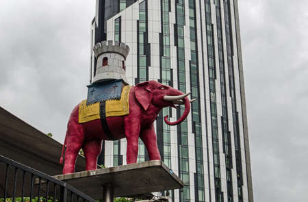 eponymous: The pink elephant carrying a castle outside the eponymous Elephant and Castle shopping centre in Southwark, South London   Elephant and Castle is one of London39s more deprived areas but efforts are underway to redevelop the place
