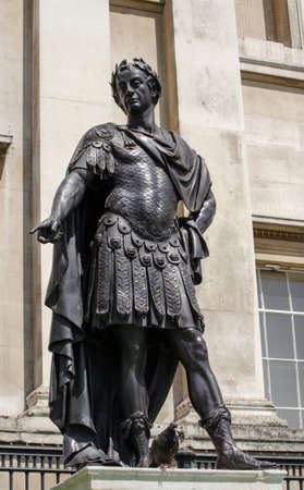 king james: Historic bronze statue of King James II of England, who was also King James VII of Scotland   The sculpture, in Trafalgar Square was created by Grinling Gibbons and has been on public display in London since 1686
