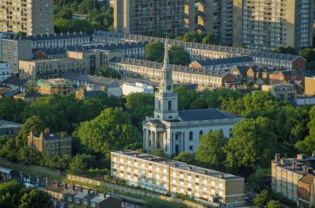 Aerial view of the historic All Saints Church in Poplar, Tower Hamlets.  The church was built mostly in Georgian times and was badly damaged during the WWII Blitz.