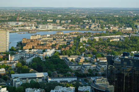 east end: View from the Isle of Dogs looking across the River Thames towards Greenwich, London. Stock Photo