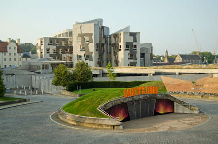 scottish parliament: EDINBURGH, UK - SEPTEMBER 11, 2014:  Early evening view from the Dynamic Earth geology museum towards the Scottish Parliament buildings at Holyrood, Edinburgh, Scotland. Editorial