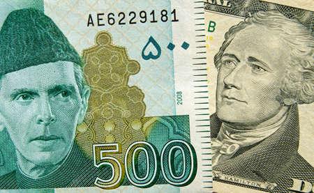 alexander hamilton: Banconote che mostrano i padri fondatori dei rispettivi paesi il Pakistan 500 rupie mostrando Muhammad Ali Jinnah e 10 dollar bill mostrando Alexander Hamilton, uno dei padri fondatori degli Stati Uniti. Banconote usate, mostrato a un angolo con meno del 80%