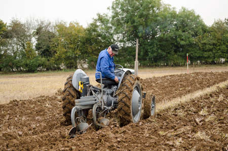 ploughing: BASINGSTOKE, UK  OCTOBER 12, 2014: John Evans competing in the second day of the British National Ploughing Championships organised by the Society of Ploughmen.  Taking part in the Ferguson Ploughing Championship. Accredited photographer. Editorial
