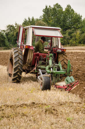 accredited: BASINGSTOKE, UK  OCTOBER 12, 2014:  Michael Holloway competing in the second day of the British National Ploughing Championships organised by the Society of Ploughmen. Accredited photographer