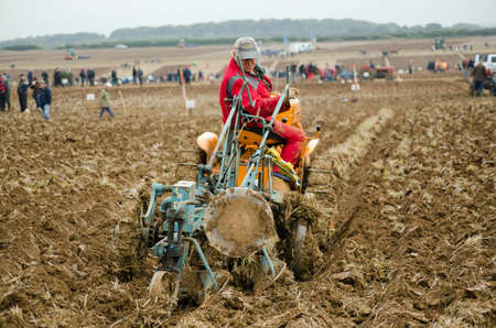 accredited: BASINGSTOKE, UK  OCTOBER 12, 2014: David Eastley taking part  in the second day of the British National Ploughing Championships organised by the Society of Ploughmen.  Competing in the Crawler Tractor class on a Cletrac tractor.  Accredited photographer Editorial