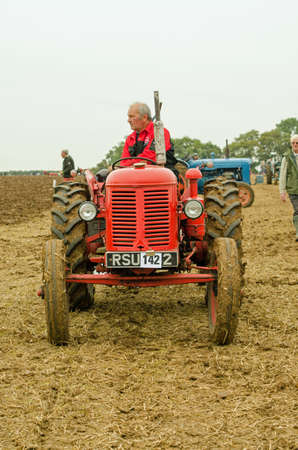 david brown: BASINGSTOKE, UK - OCTOBER 12, 2014:  Farmer Colin Hewetson leaving the competition field after taking part in the British National Ploughing Championships 2014.  Driving a David Brown 25D tractor.